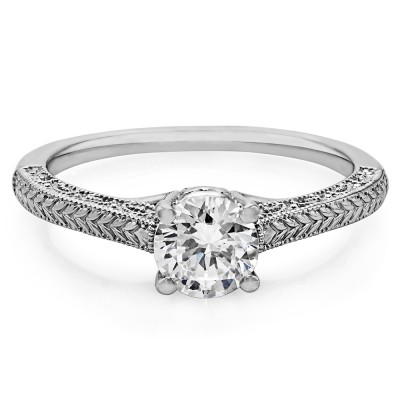 1 Carat Vintage Filigree Engraved Solitaire