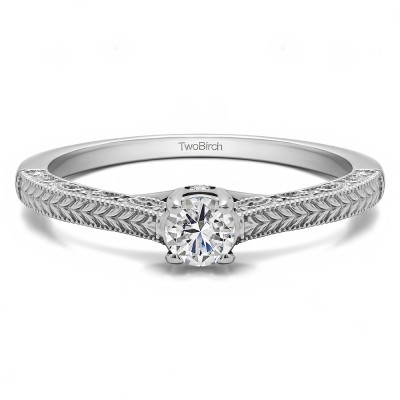 0.35 Ct. Vintage Engraved Engagement Ring with Peek-A-Boo Stones With Cubic Zirconia Mounted in Sterling Silver (Size 7)