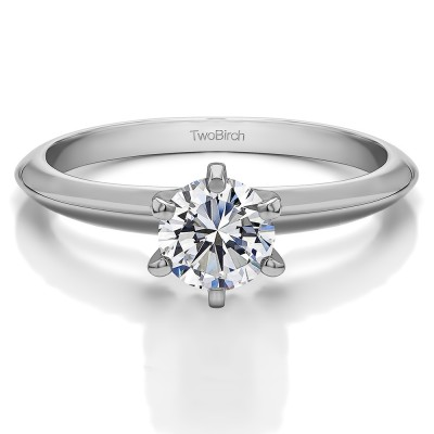 .25 Carat Six Prong Cubic Zirconia Solitaire Engagement Ring With Cubic Zirconia Mounted in Sterling Silver (Size 11.5)