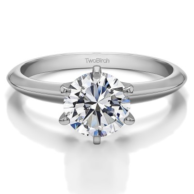 1 Carat Genuine Diamond Solitaire Engagement Ring in 14K White Gold