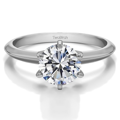 1.50 Carat Six Prong Moissanite Solitaire Engagement Ring