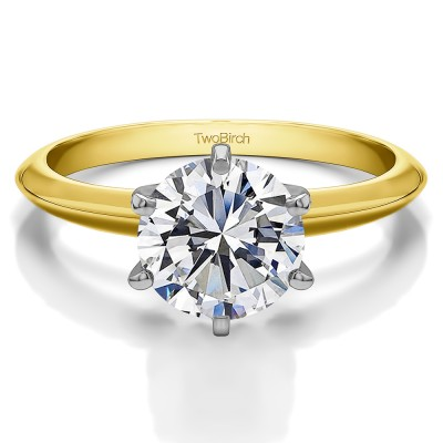 1 Carat Round Traditional Style Solitaire set with MOISSANITE in 10k Two Tonne Gold SIZE 6