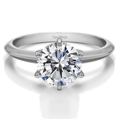 2.00 Carat Six Prong Cubic Zirconia Solitaire Engagement Ring With Cubic Zirconia Mounted in Sterling Silver (Size 11.5)