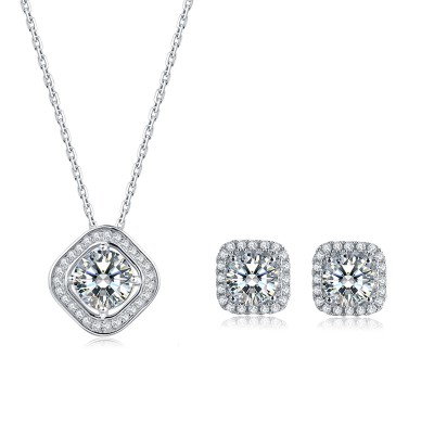 Platinum Plated Sterling Silver Moissanite Square Halo Stud Earrings (5 MM Round, 1 CT DEW, CERTIFIED) & Matching Square Halo Pendant (6.5 MM, 1 CT DEW, Certified)