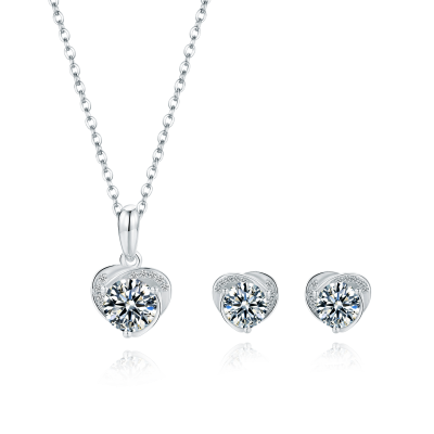 Platinum Plated Sterling Silver Moissanite Stud Earrings with Swirl Design (5 MM Round, 1 CT DEW, CERTIFIED) & Matching  Swirl Solitaire Pendant (6.5 MM, 1 CT DEW, Certified)