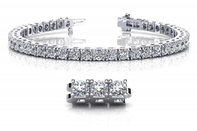2 1/2 Carat Diamond Tennis Bracelet in 14K White Gold