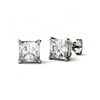 TwoBirch Princess Brilliant Moissanite Stud Earrings in 14k White Gold (1/3 CT up to 2 1/2 CT)
