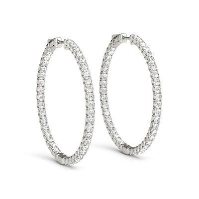 14k White Gold 3/4 Inch Moissanite Inside Out Hoop Earrings