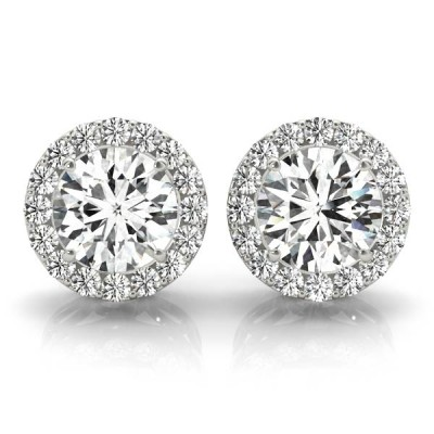 14K White Gold Diamond Halo Moissanite Stud Earrings