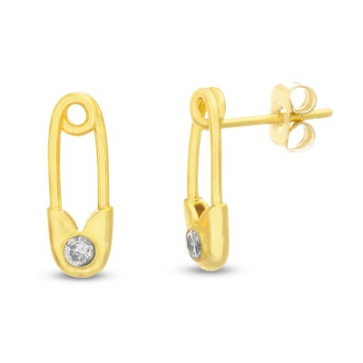 TwoBirch 18k Yellow Gold Color Safety Pin Design Earrings with CZ Diamond Simulants in 925 Silver with Gold Plating on Posts with Tension Backs