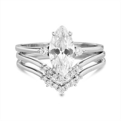 TwoBirch 925 Silver Marquise Three Ring Bridal Set with Three Stone Marquise Engagement Ring and Two Matching Chevron Contour Bands
