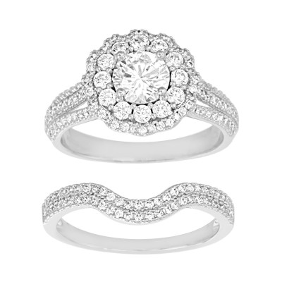 TwoBirch 18k White Gold Microplated Floral Design Duo Bridal Ring Set Engagement Ring and Wedding Band with Cubic Zirconia (SET (2 RINGS)