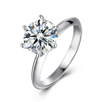3 Carat Moissanite Solitaire Engagement Ring in Platinum Plated Silver (Certified, 9 MM)