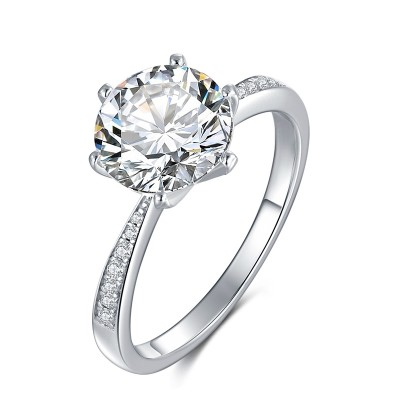 3 Carat Moissanite Solitaire Engagement Ring in Platinum Plated Silver with Graduated Cubic Zirconia Side Stones (Certified, 9 MM)