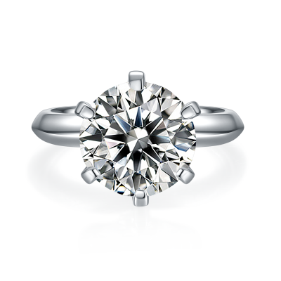 5 Carat Moissanite Solitaire Engagement Ring in Platinum Plated Silver (Certified, 11 MM)
