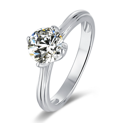 1 Carat Round Moissanite Tulip Shaped Solitaire Engagement Ring in Platinum Plated Silver (Certified, 6.5 MM)