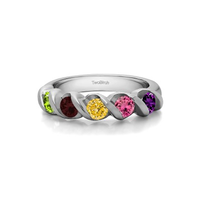 Genuine Birthstone Five Stone Swirl Set Wedding Band (0.48 Carat)