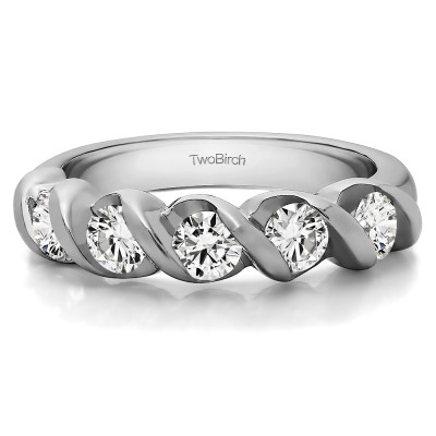 0.48 Carat Five Stone Swirl Set Wedding Band