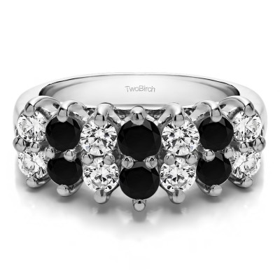 0.53 Carat Black and White Double Row Double Shared Prong Raised Wedding Ring