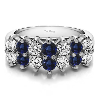 1.96 Carat Sapphire and Diamond Fourteen Stone Double Row Common Prong Wedding Ring