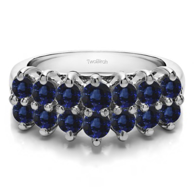 1.96 Carat Sapphire Fourteen Stone Double Row Common Prong Wedding Ring