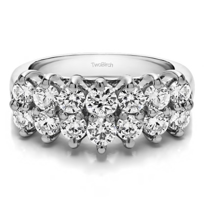 1.96 Carat Fourteen Stone Double Row Common Prong Wedding Ring