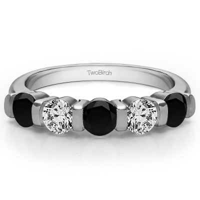 0.75 Carat Black and White Five Stone Bar Set Wedding Band