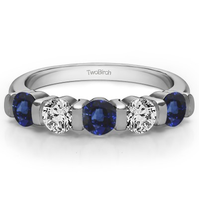 0.5 Carat Sapphire and Diamond Five Stone Bar Set Wedding Band