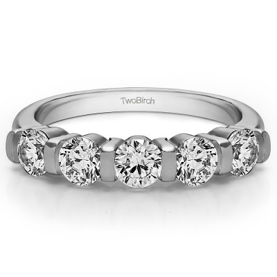0.5 Carat Five Stone Bar Set Wedding Band