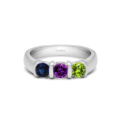Genuine Birthstone Three Stone Bar Set Wedding Ring(0.48 Carat)