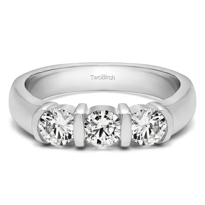 0.48 Carat Three Stone Bar Set Wedding Ring