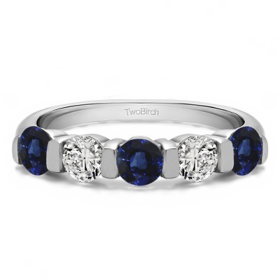 0.5 Carat Sapphire and Diamond Five Stone Wide Bar Set Wedding Band