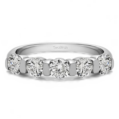 0.5 Carat Five Stone Wide Bar Set Wedding Band
