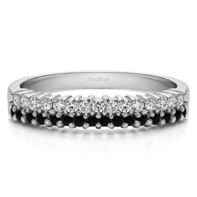 0.5 Carat Black and White Double Row Shared Prong Wedding Ring