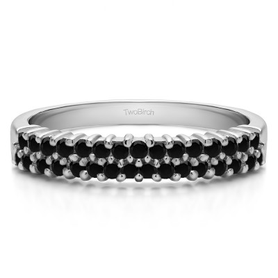 0.5 Carat Black Double Row Shared Prong Wedding Ring
