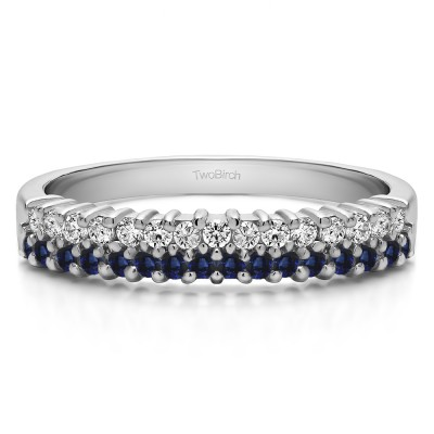 0.5 Carat Sapphire and Diamond Double Row Shared Prong Wedding Ring