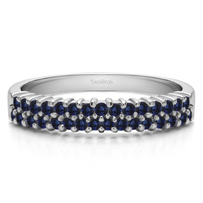 0.5 Carat Sapphire Double Row Shared Prong Wedding Ring