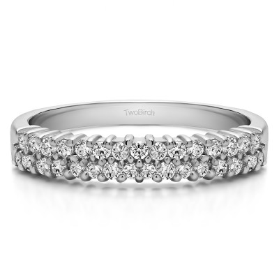 0.5 Carat Double Row Shared Prong Wedding Ring