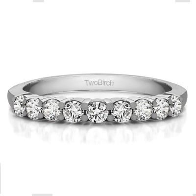 0.5 Carat Double Shared Prong Thin Wedding Band