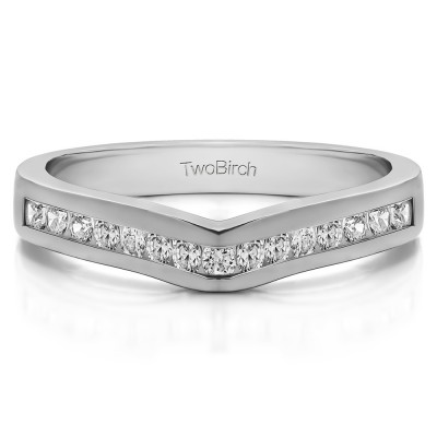 0.25 Ct. Round Fifteen Stone Channel Set Contour Wedding Ring With Cubic Zirconia Mounted in Sterling Silver (Size 8)