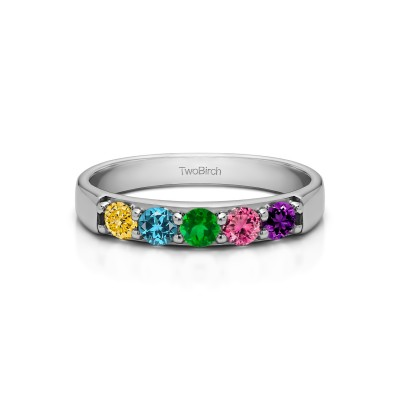 Genuine Birthstone Five Stone Pave Set Anniversary Band(0.5 Carat)