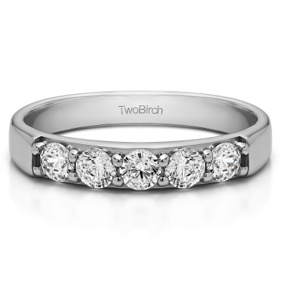 0.5 Carat Five Stone Pave Set Anniversary Band