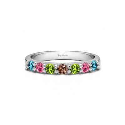 Genuine Birthstone Seven Stone Common Prong Wedding Ring (0.49 Carats)
