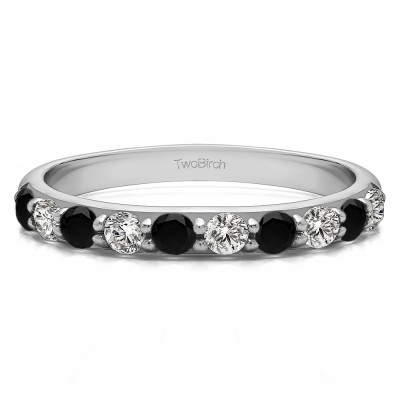0.5 Carat Black and White 10 Stone Delicate Prong Set Wedding Band