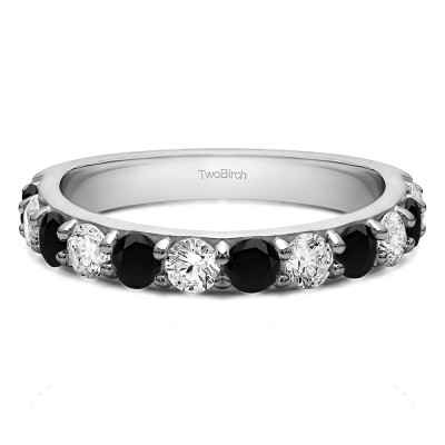 0.48 Carat Black and White Twelve Stone Round Pave Set Wedding Band