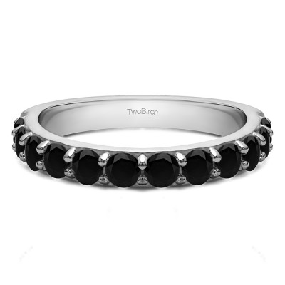 0.48 Carat Black Twelve Stone Round Pave Set Wedding Band