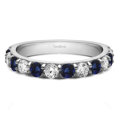 0.48 Carat Sapphire and Diamond Twelve Stone Round Pave Set Wedding Band