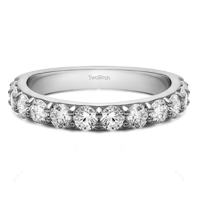 0.48 Carat Twelve Stone Round Pave Set Wedding Band