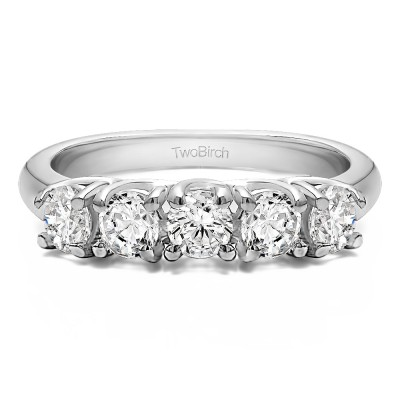 0.5 Carat Five Stone Trellis Set Wedding Ring