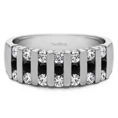 0.26 Carat Black and White Three Row Bar Set Wedding Ring
